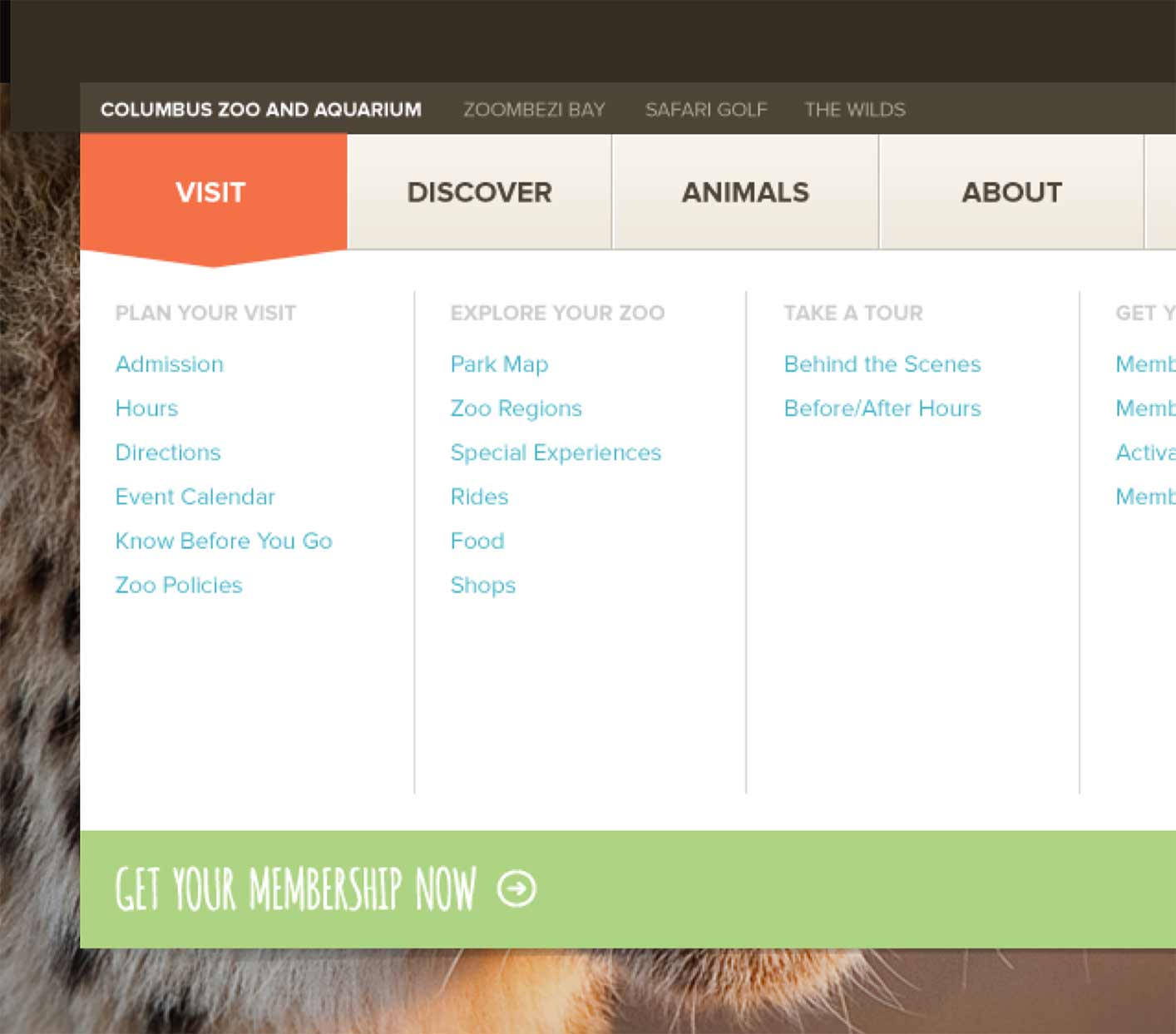 Columbus Zoo Website - Dropdown Navigation