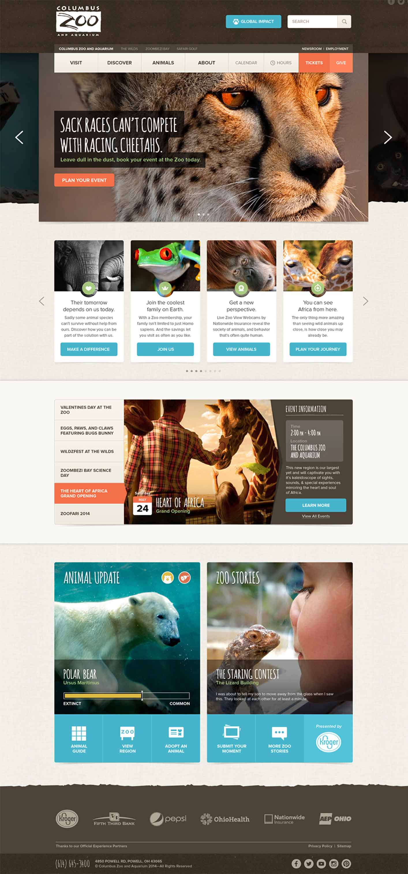 Columbus Zoo Website - Full Screenshot